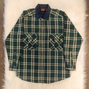 Vintage Faded Glory Green Plaid Shirt